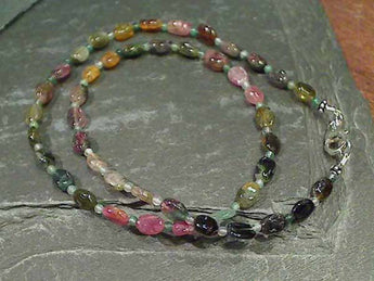 "16"" Tourmaline, Sterling Silver Necklace"
