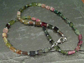 "18"" Tourmaline, Sterling Silver Necklace"