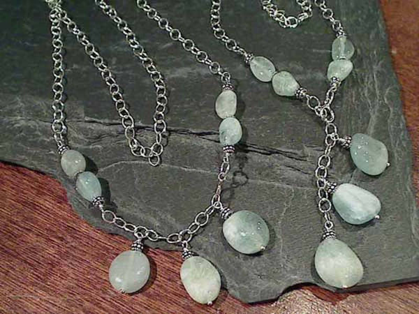 "20"" Drop, 22"" Strand, Aquamarine Necklace"