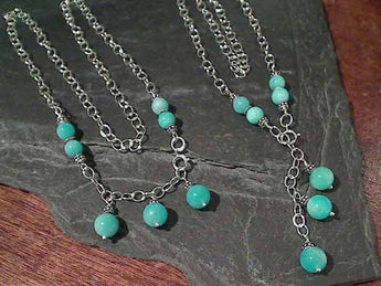 "20"" Drop, 22"" Strand, Amazonite Necklace"