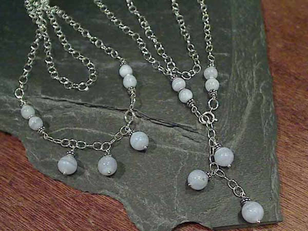 "18"" Drop, 20"" Strand, Blue Lace Agate Necklace"