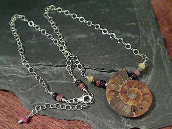 "18""-20"" Ammonite, Tourmaline Necklace"