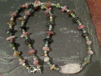 "20"" Tourmaline, Jasper, Rose Quartz Necklace"