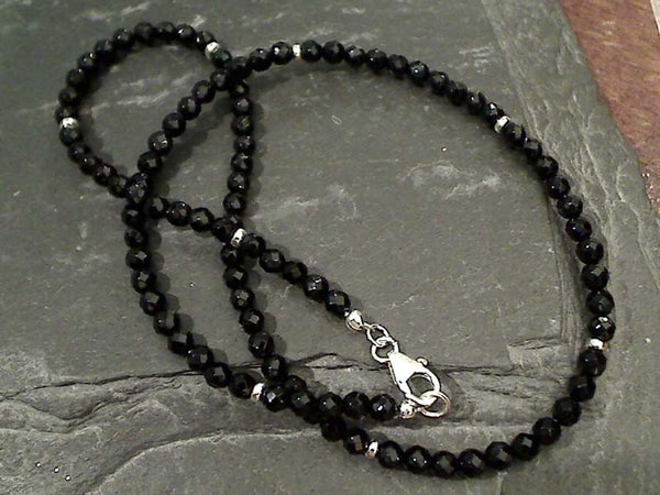 "18"" Black Onyx, Sterling Silver Necklace"