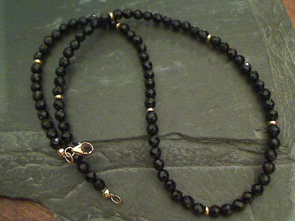 "16"" Black Onyx, Gold Filled Necklace"
