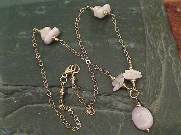 "18"" Kunzite, Gold Filled Necklace"