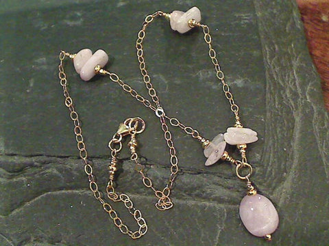 "16"" Kunzite, Gold Filled Necklace"