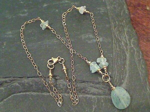 "20"" Aquamarine, Gold Filled Necklace"