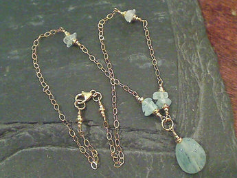 "16"" Aquamarine, Gold Filled Necklace"