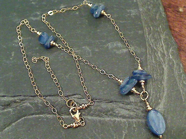"15-17"" Kyanite, Gold Filled Necklace"