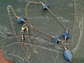 "18"" Kyanite, Gold Filled Necklace"