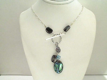 "15"" Abalone, Crystal, Sterling Silver Necklace"