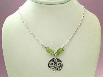 "16"" Peridot, Sterling Silver Necklace"