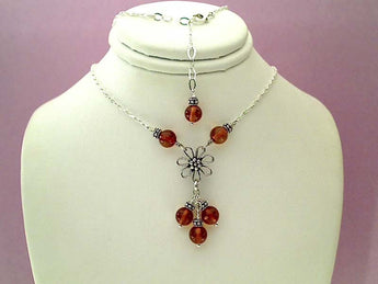 "15""-17"" Amber, Sterling Silver Necklace"