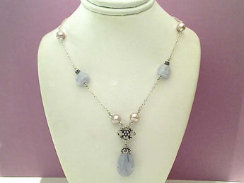 "16"" Blue Lace Agate, Pearl, Sterling Necklace"