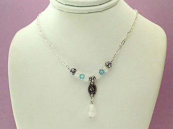 "15.5""-17.5"" Moonstone, Blue Crystal Necklace"