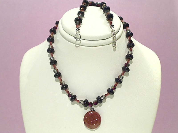 "15.5"" Goldstone, Crystal, Sterling Silver Necklace"