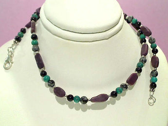 Obsidian, Turquoise, Sugilite Necklace, 16""