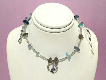 Labradorite, Apatite, Kyanite Necklace 16-17""