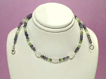 "17.5"" Moonstone, Peridot, Iolite, Sterling Necklac"