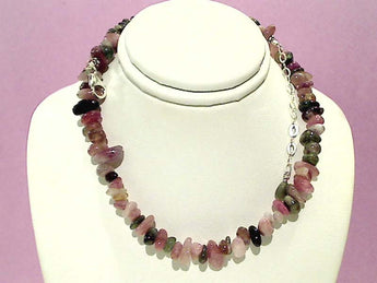 "16""-18"" Tourmaline, Sterling Silver Necklace"