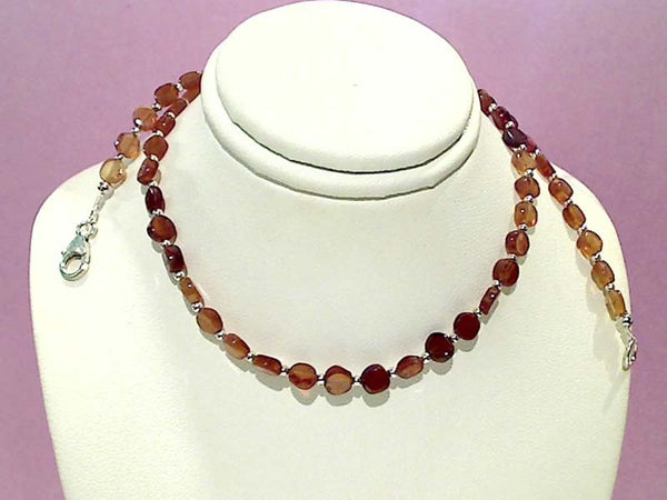 "17.5"" Hazenite Garnet, Sterling Silver Necklace"