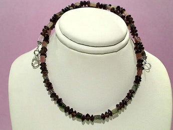 "16"" Tourmaline, Smokey Quartz, Sterling Necklace"