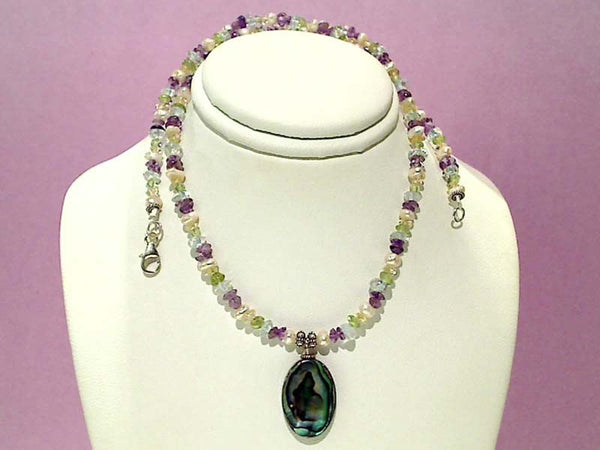 "16""-18"" Gemstones and Abalone Necklace"