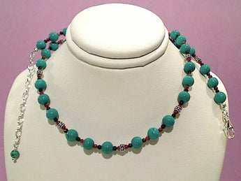 "20""-22"" Turquoise, Goldstone Necklace"