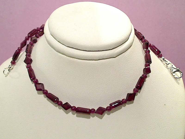 "16"" Garnet, Sterling Silver Necklace"