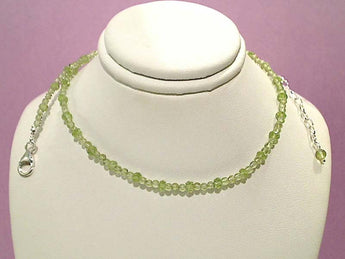 "16""-18"" Peridot, Sterling Silver Necklace"