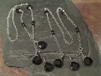 "Onyx Convertable Necklace 18"" Drop or 19"" Tri-Drop"