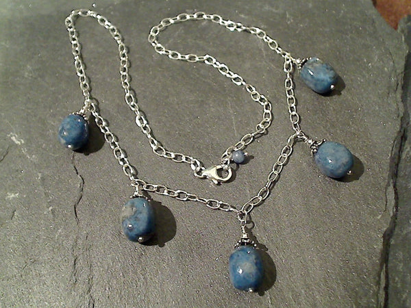 "18.5"" Lapis Lazuli, Sterling Silver Necklace"