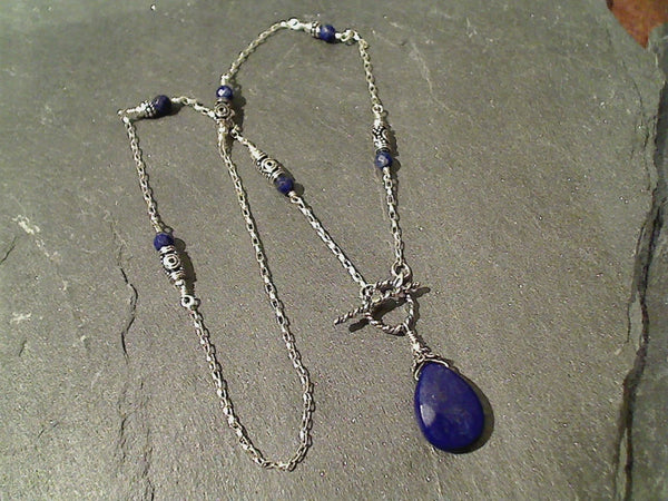 "18"" Lapis Lazuli, Sterling Silver Necklace"