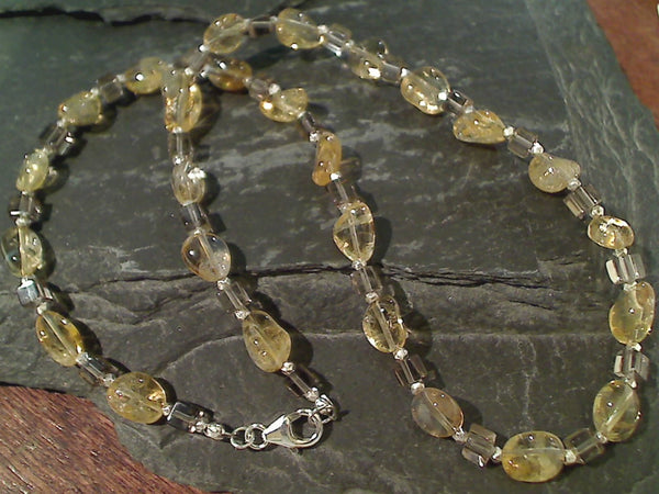 "17.5"" Citrine, Smokey Quartz, Sterling Necklace"