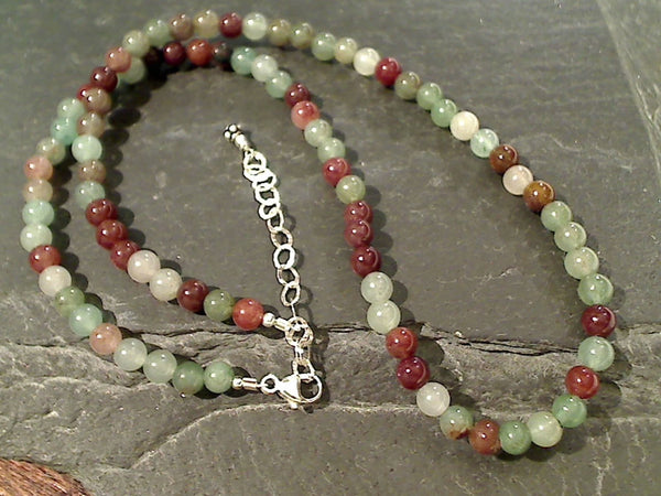"14.5""-16.5"" Fancy Jasper, Sterling Silver Necklace"
