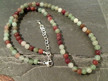 "16"" - 18"" Fancy Jasper, Sterling Silver Necklace"