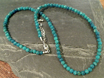 "17.75-19.75"" Blue Apatite Sterling Silver Necklace"