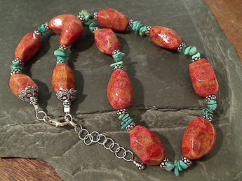 "15.75-17.5"" Turquoise, Coral, Sterling Necklace"