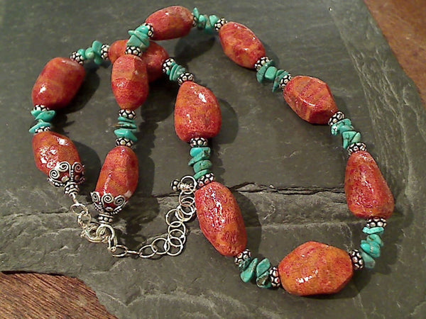"16""-18"" Turquoise, Coral, Sterling Necklace"