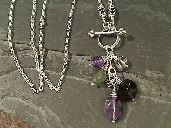 "18"" Amethyst, Smk Quartz, Jade Toggle Necklace"