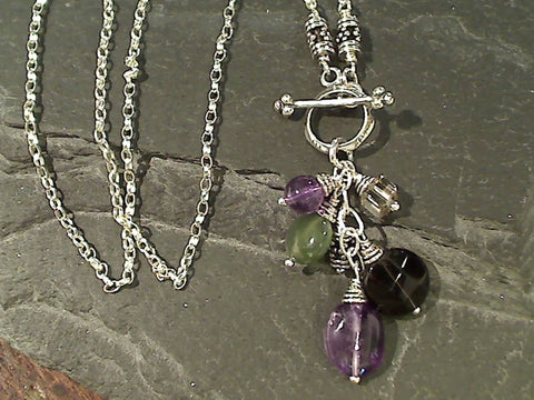 "16"" Amethyst, Smk Quartz, Jade Toggle Necklace"