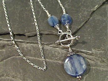 "20"" Kyanite, Sterling Silver Toggle Necklace"