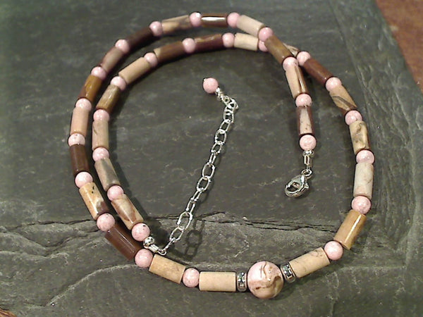 "15.5""-17.5"" Jasper, Rhodochrosite Necklace"