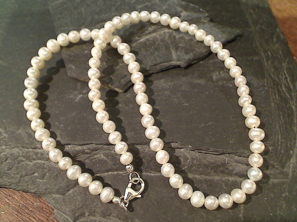 "16"" Pearl, Sterling Silver Beaded Necklace"