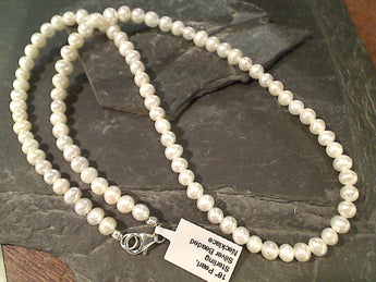 "18"" Pearl, Sterling Silver Beaded Necklace"