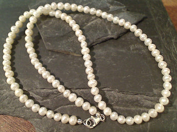 "20"" Pearl, Sterling Silver Beaded Necklace"