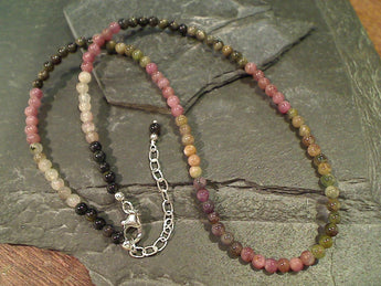 "18""-19.5"" Tourmaline, Sterling Beaded Necklace"