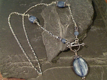"16"" Kyanite, Sterling Silver Toggle Necklace"
