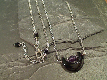 "16""-17.5"" Onyx, Amethyst, Sterling Silver Necklace"